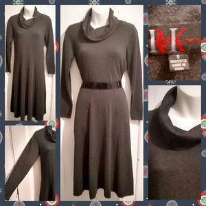 VTG 90s Cowl Neck Charcoal Gray Sweater Dress M/L